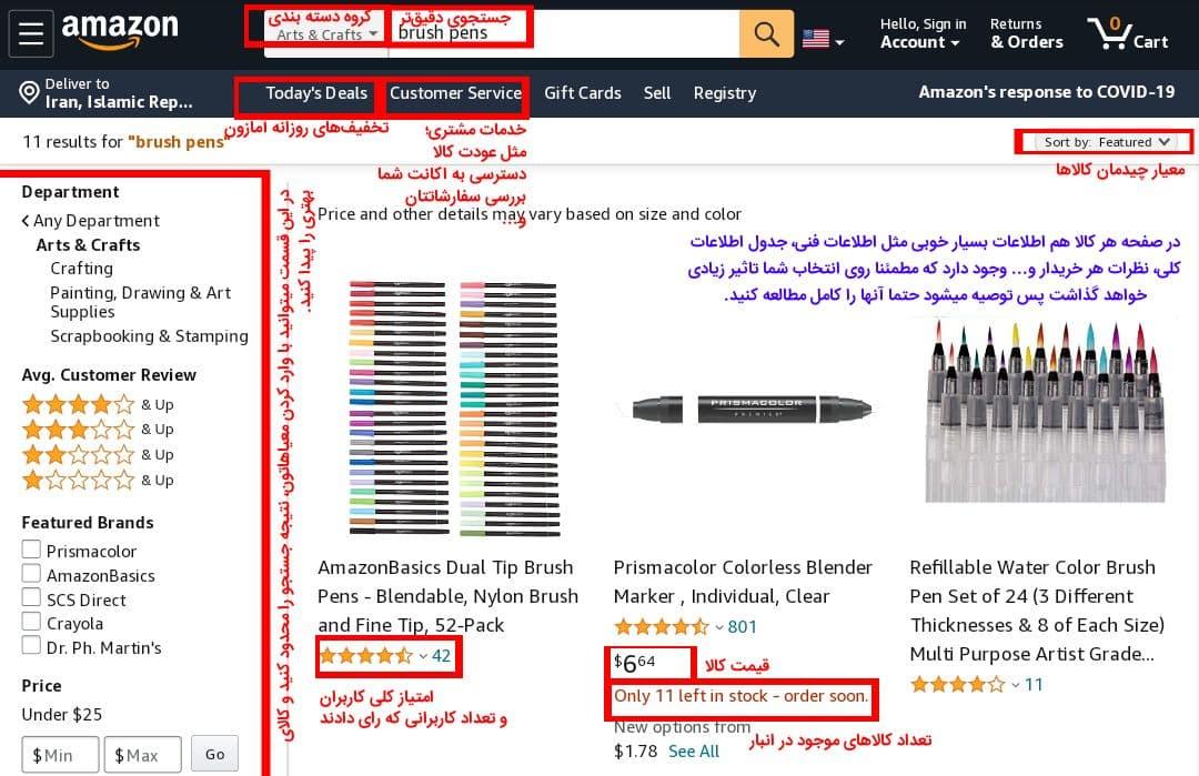 اطلاعات موجود در صفحه هر محصول در خرید آنلاین از آمازون